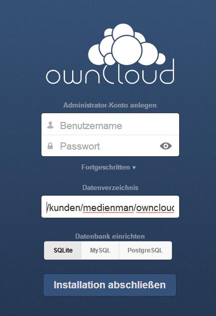 Installationsbildschirm von Owncloud