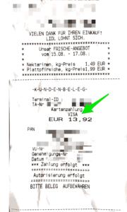 Beispiel für einen Beleg. Die Smartphonebezahlung wird als VISA-Bezahlung gekennzeichnet.