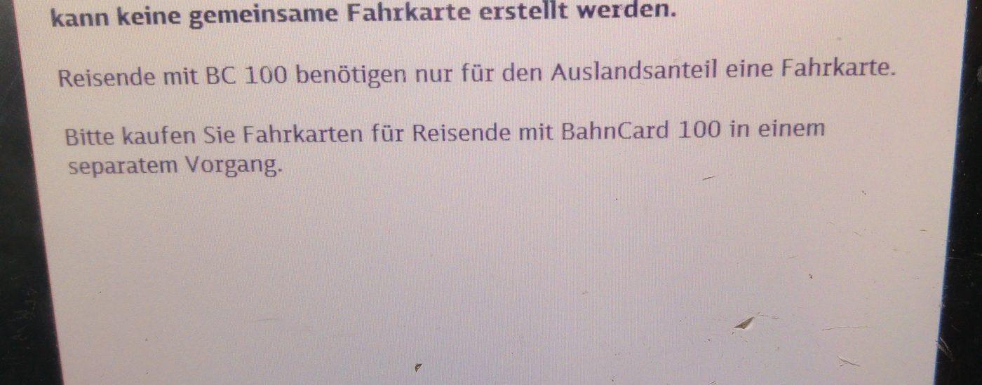 Die Buchung mit verschiedenen Bahncards bei der Bahn am Automaten ist nicht möglich. Zumindest nicht, wenn eine Bahncard100 dabei ist.