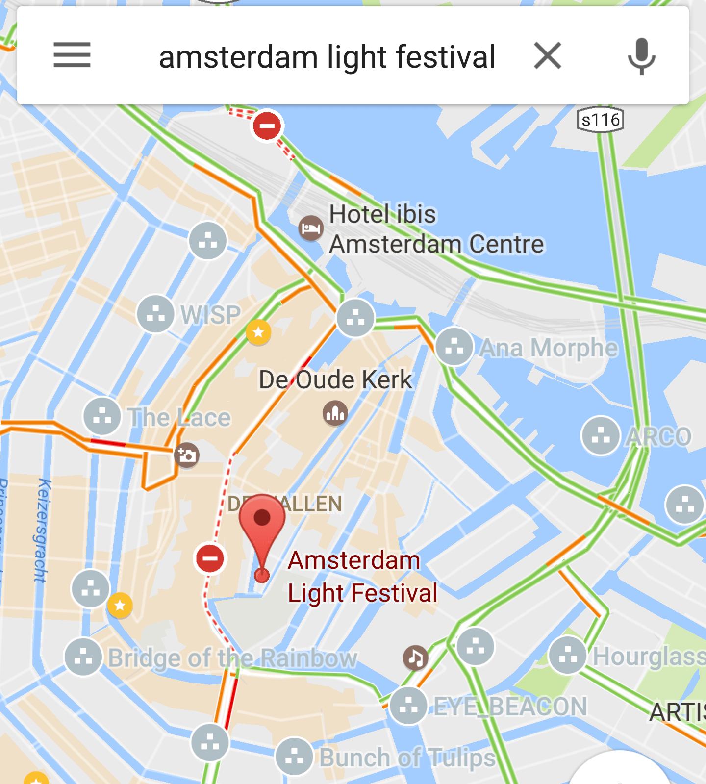 Alle Objekte zum Amsterdam Light Festival in Google Maps