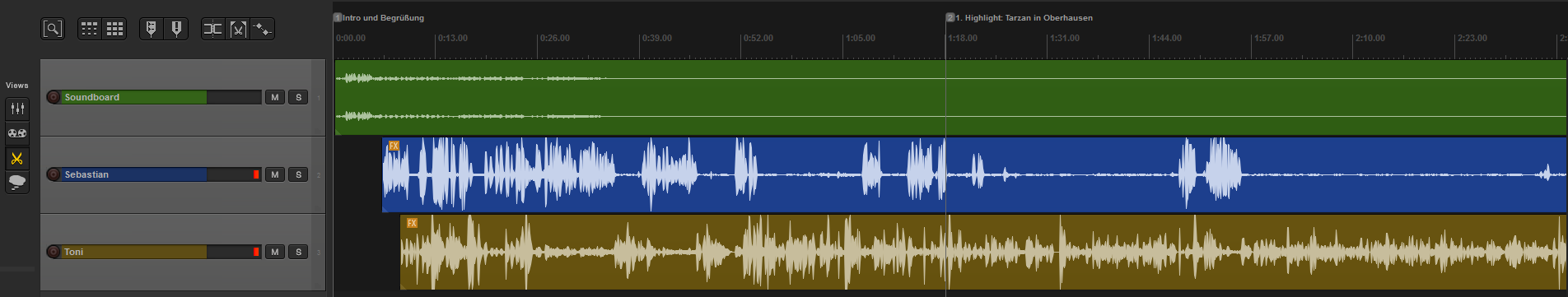Spuren im Audioschnittprogramm