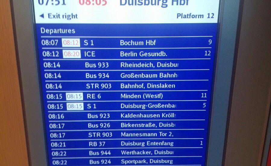 Die neuen Anzeigen im ICE3 bieten eine größere Übersicht über die Anschlusszüge