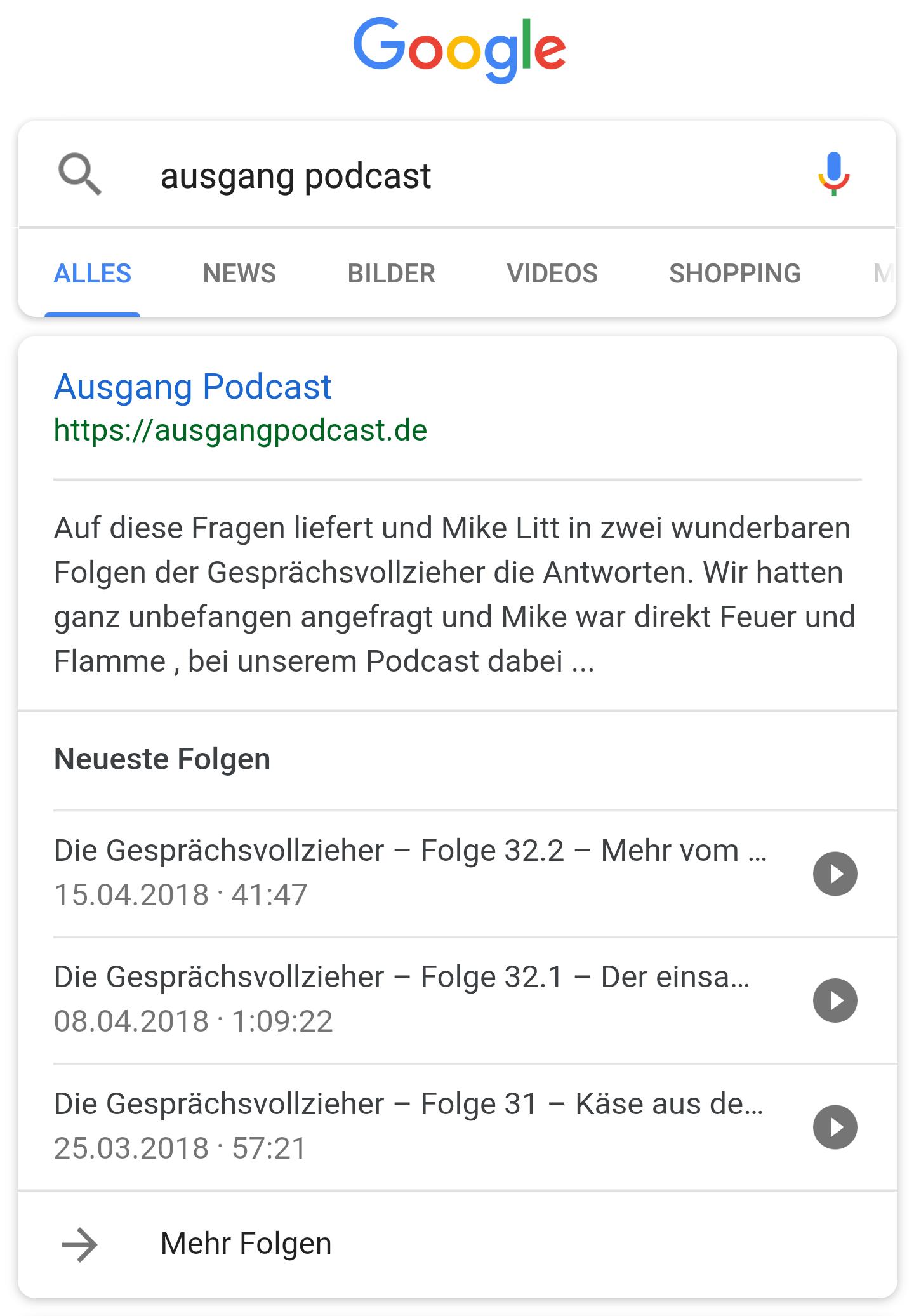 Google Podcast Suche