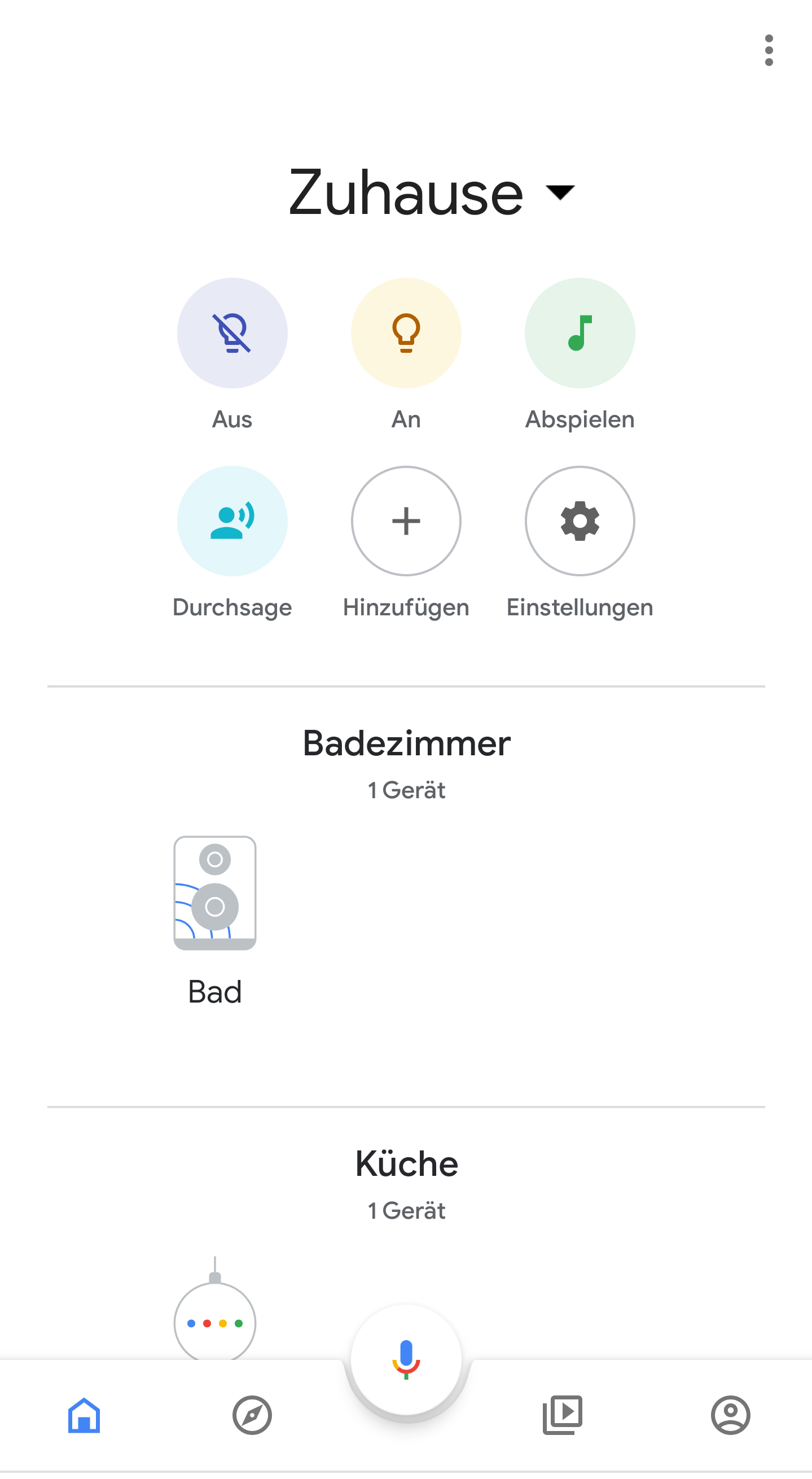 Die App zeigt sich nun übersichtlich mit den wichtigsten Elmenten ganz oben....