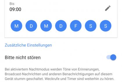 Nachtmodus für ein Google Home-Gerät einstellen