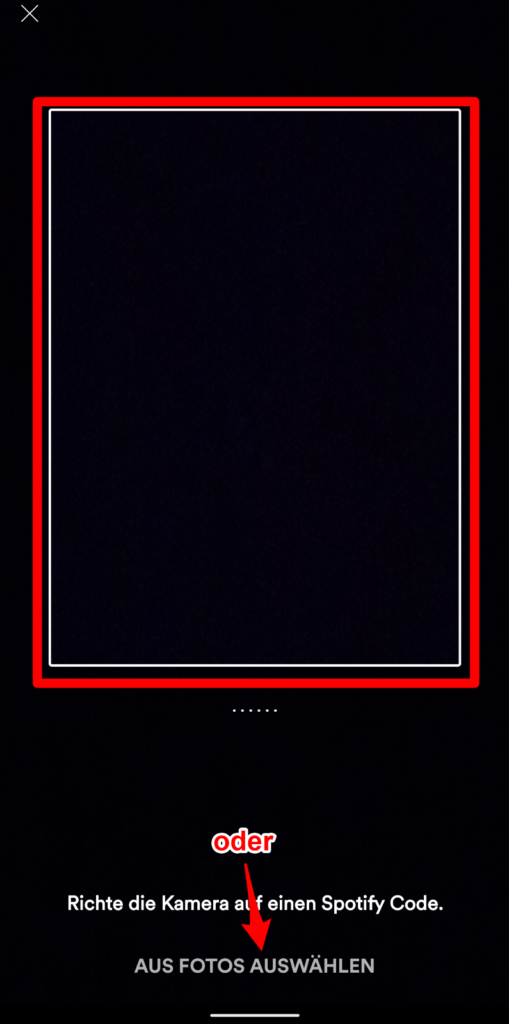 Nun kann man entweder mit der Kamera den Code abfotografieren oder ein Foto auf dem Smaprthone auswählen, dass den Code beinhaltet. Fertig.