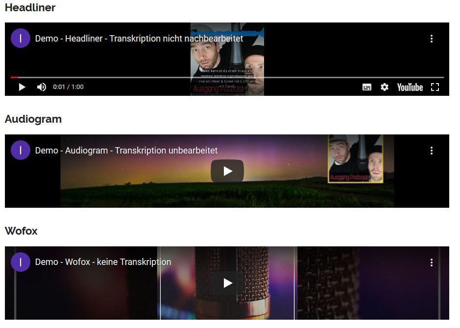 Apps für Podcast-Teaser im Web und Social Media anhand von Headliner, Audiogram und Wofox